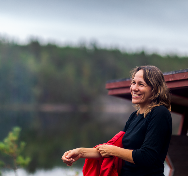Woman at a camp site in Dalsland
