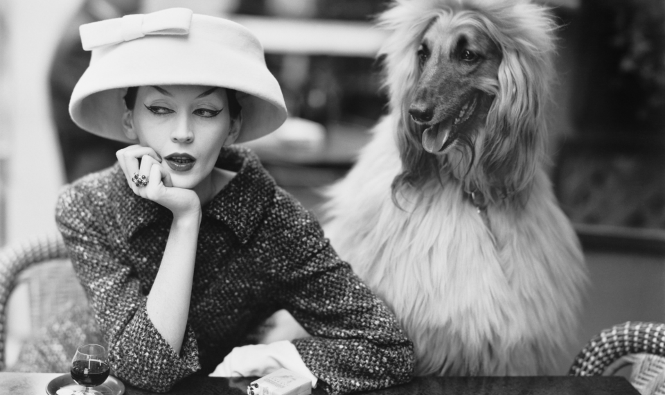 Woman wearing a hat designed by Balenciaga. She is sittning next to a dog.