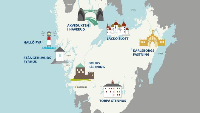 Karta över Västsveriges sju underverk.