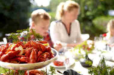 Crayfish tray at a family crayfish party- Photo cred Jonas Ingman