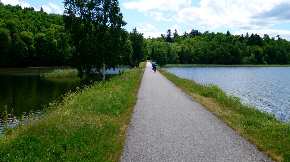 En asfalterad cykelväg med vatten på båda sidor