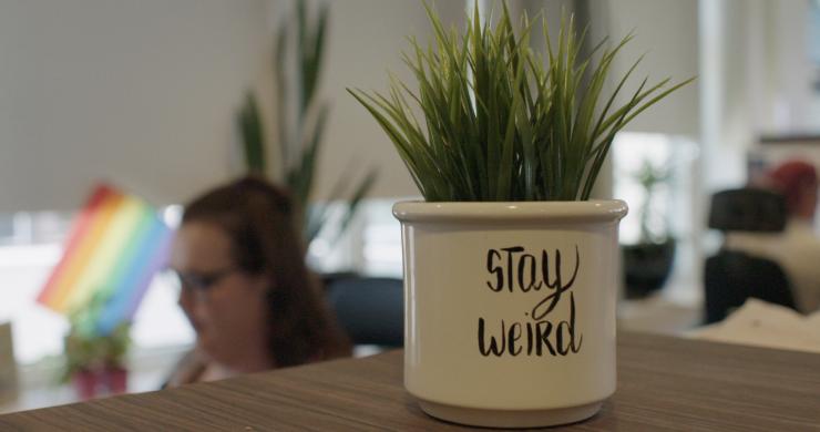 """En kruka med texten """"stay weird"""" I fronten och en suddig människa i bakgrunden"""
