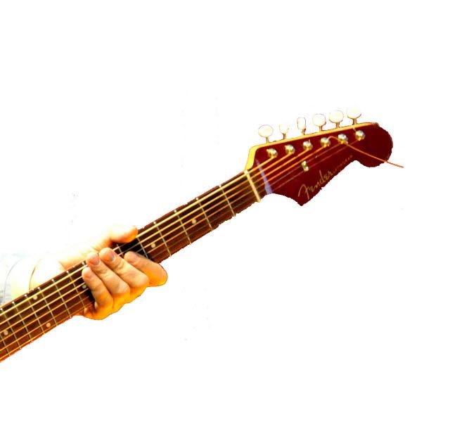 En hand som håller om skaftet på en sexsträngad gitarr.