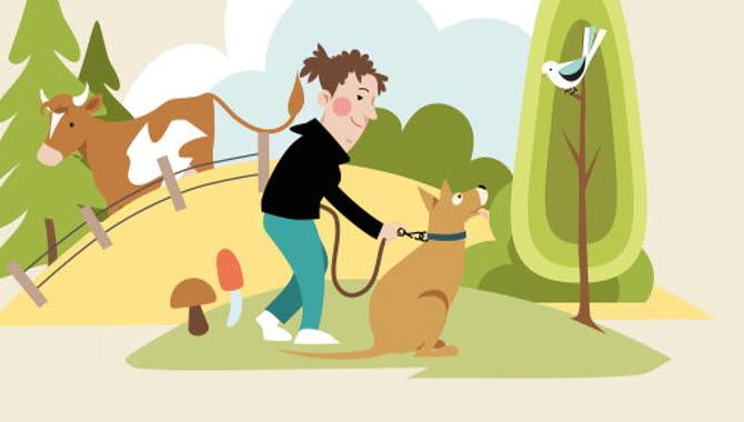 Illustrerad bild på en människa med hund som är i naturen.