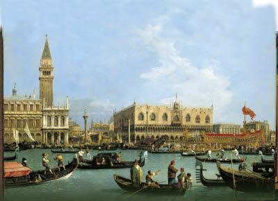 En målning med vatten, små båtar och gamla, men ståtliga hus.