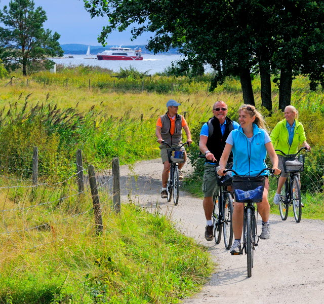 Four people are biking along a gravel road at South Koster. In the background one of the Kosterferries is passing by.