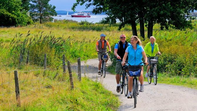 Fyra personer cyklar längst en grusväg på Sydkoster. Vägen kantas av gröna, frodiga ängar. I bakgrunden syns en av Kosterfärjorna som passerar.