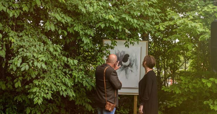 Man och kvinna som kikar på en tavla utomhus bland grönskande blad.