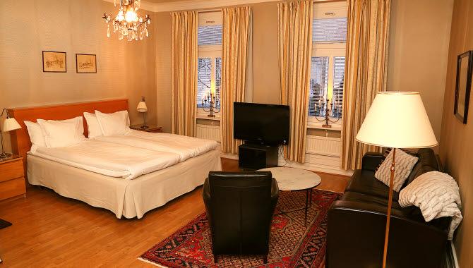 Mysigt dubbelrum på Hotell St Olof.