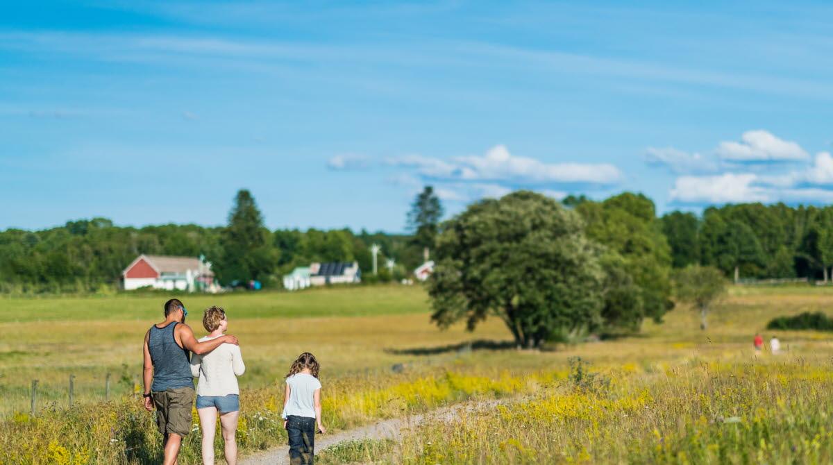 Familj som går på en grusväg med vacker natur runt omkring.