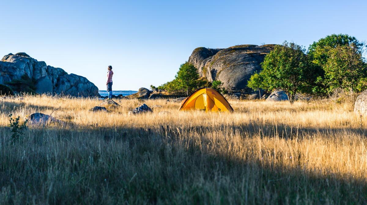Kvinna vid tält i Bohuslän
