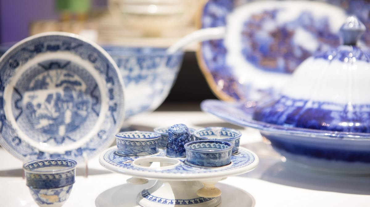 Porcelain in blue and white at a museum