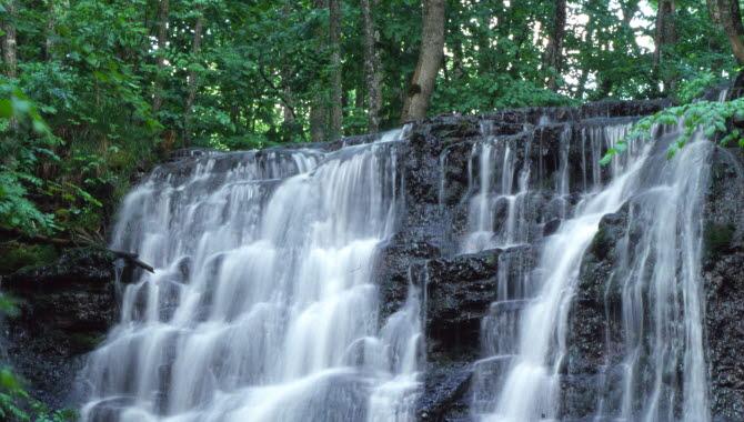 Ett vattenfall omgärdat av gröna träd.