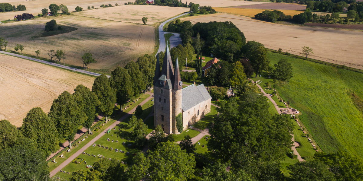 Aerial view on a stone church.
