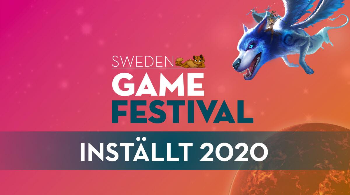 Bild med rosa och orange bakgrund med texten: Sweden Game Festival inställd 2020.
