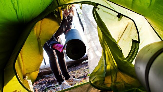 Insidan av ett tält