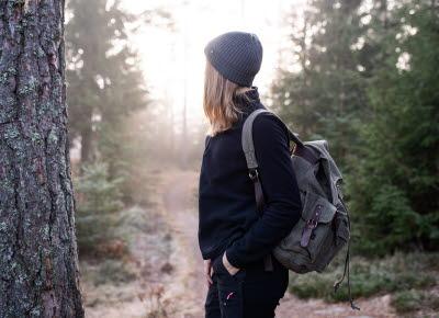 Woman hiking at Herrestadsfjället, Uddevalla.