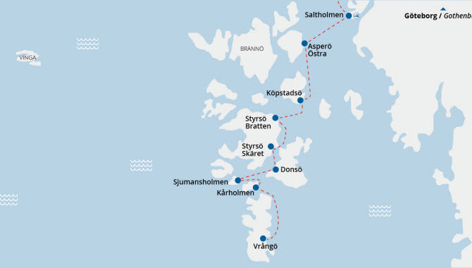 gothenburg southern archipelago ferry routes and islands map