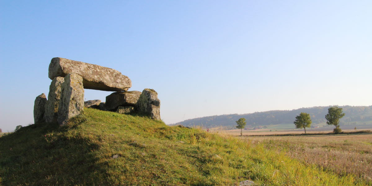 A passage grave on top of a hill with beautiful view over the landscape