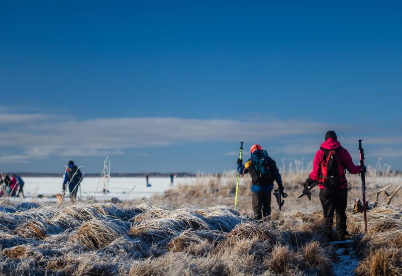 Två personer på väg ut till isen för att åka långfärdsskridskor. Blå himmel.