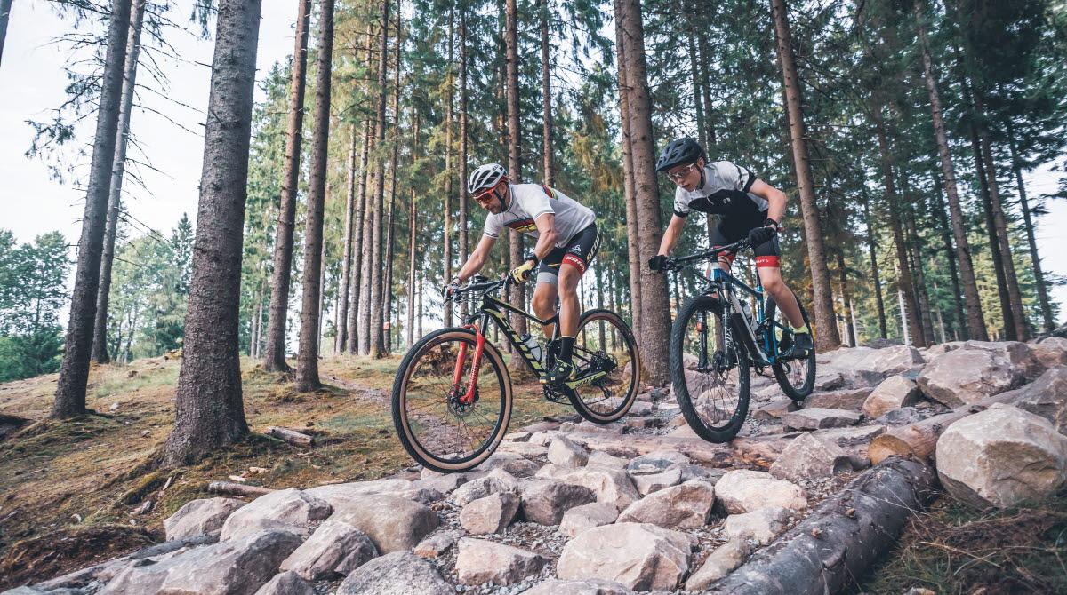 Two guys on their bikes