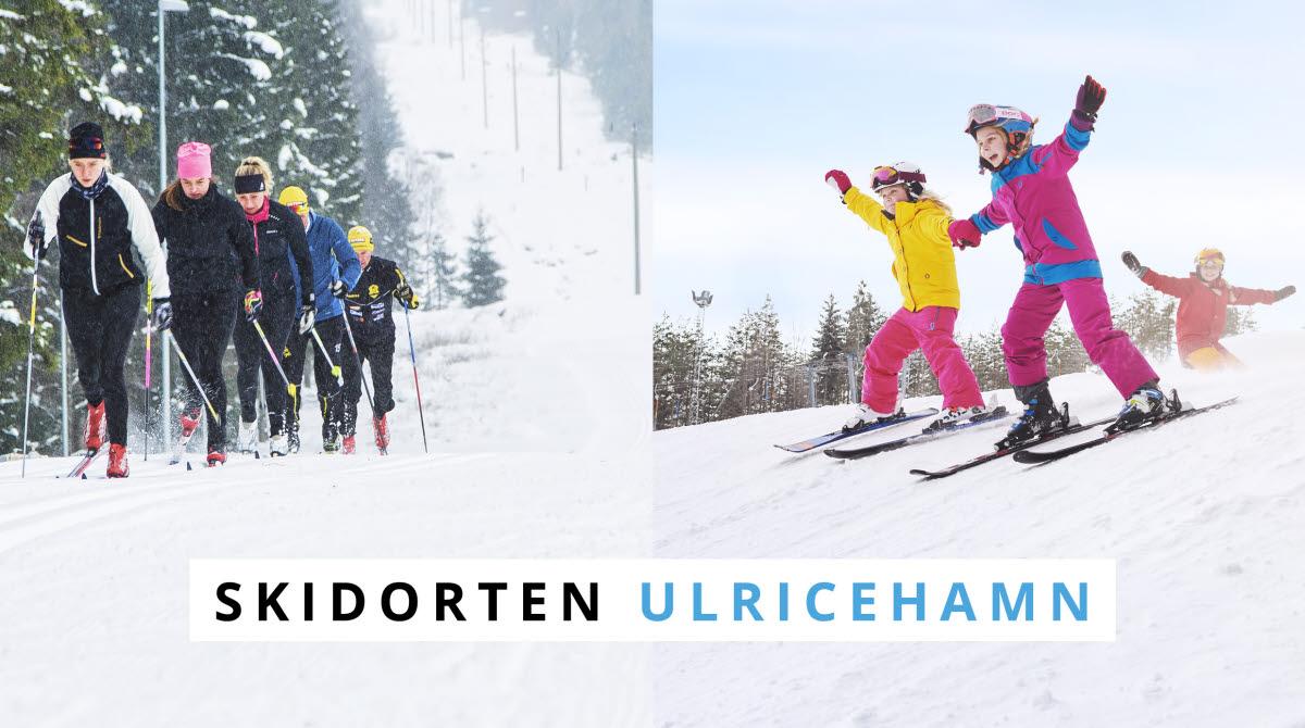 Skidorten Ulricehamn. Bilden är uppdelad i två sektioner, på ena halvan åker ett gäng längdskidor och på andra halvan åker tre barn slalom.
