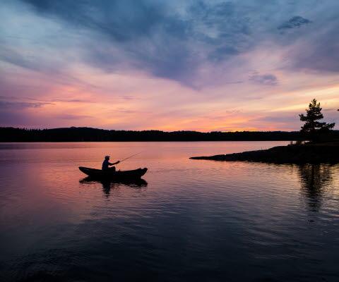 Kajak in sunset