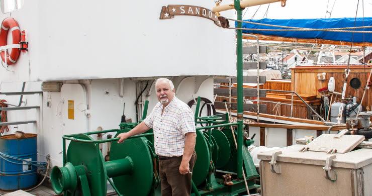 Kanalfesten i grundsund 2019. Klas Berntsson, siste skeppare och ägare till kulturminnesmärkta fiskebåten LL 158 Sandö.