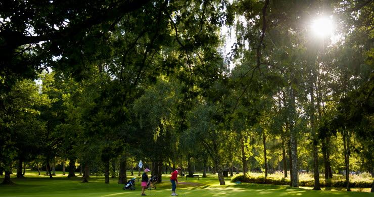 Två kvinnor står på en golfgreen en solig sommardag.