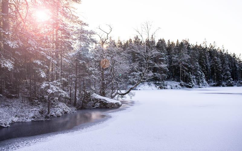 Vinterbild över Bredfjället i Ljungskile.