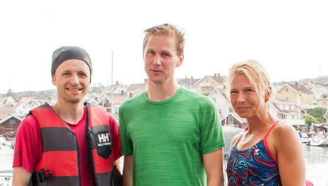 Vinnande lag i Kanalstafetten 2018 Erik Framme, Mikael Gren, Eva Rongård.  Kanalfesten Grundsund Skaftö