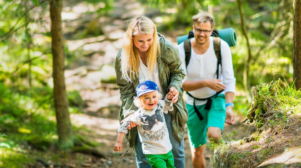 En glad familj som går uppför en backe i en grön skog.