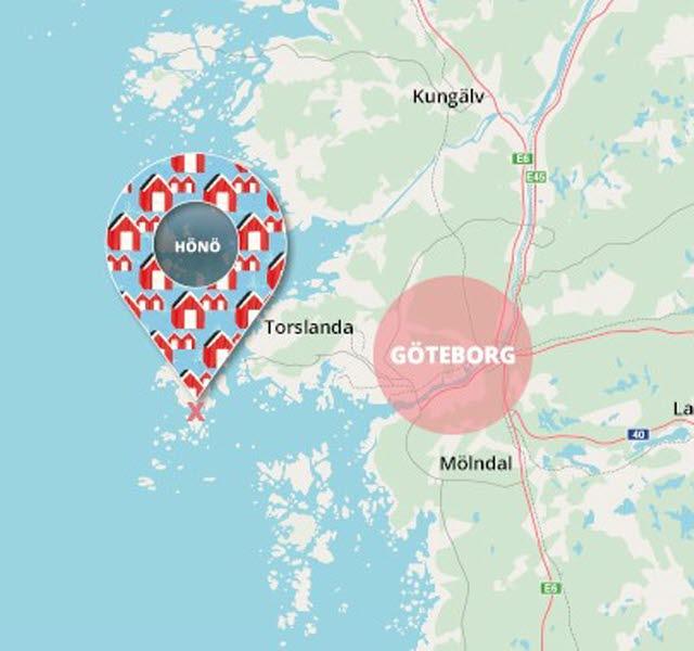 Hönö klåva plats strax utanför Göteborg Karta