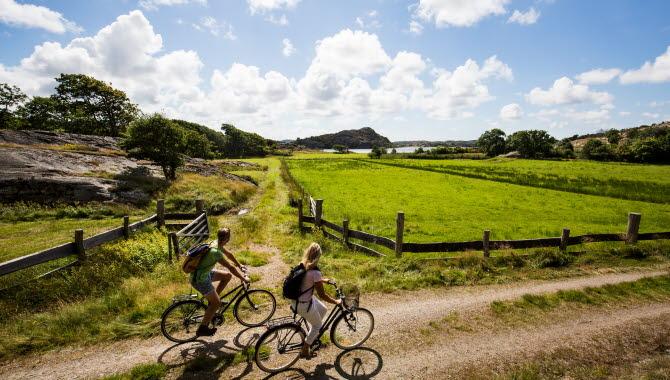 Cykling på Tjörn, grusväg vid Pilane.