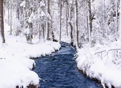 Vinterbild över Herrestadfjället i Ljungskile.