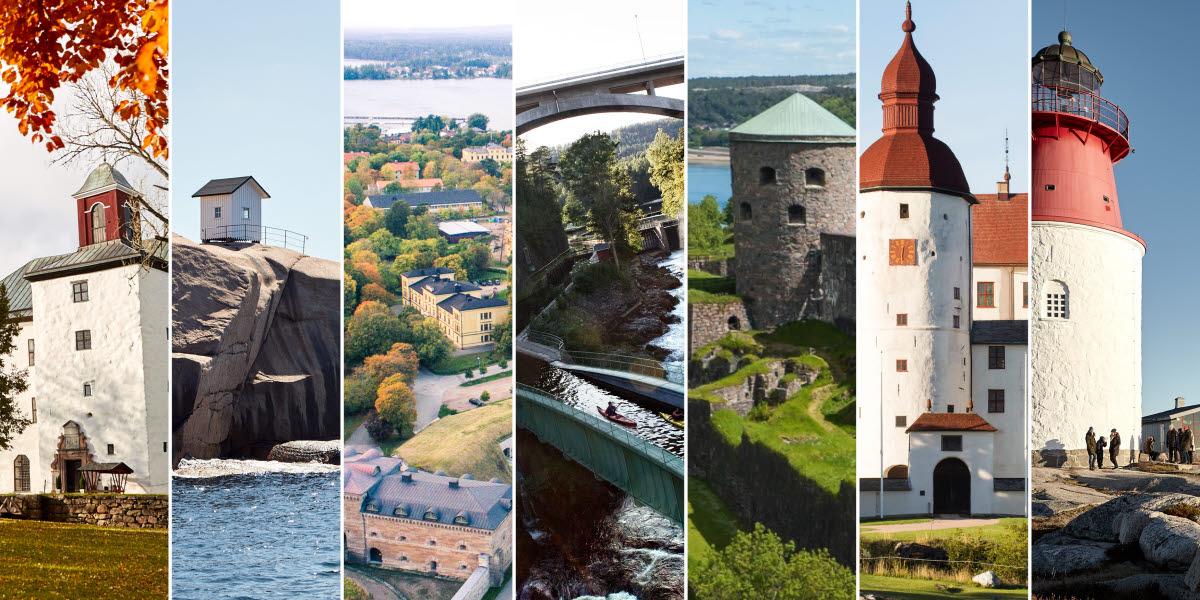 Bildmontage över Västsveriges sju underverk.