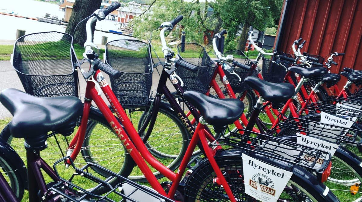 En rad med röda cyklar