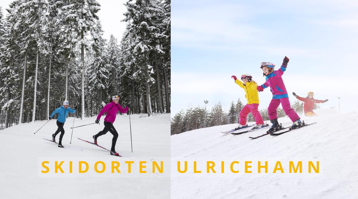 Tvådelad bild med folk som åker skidor