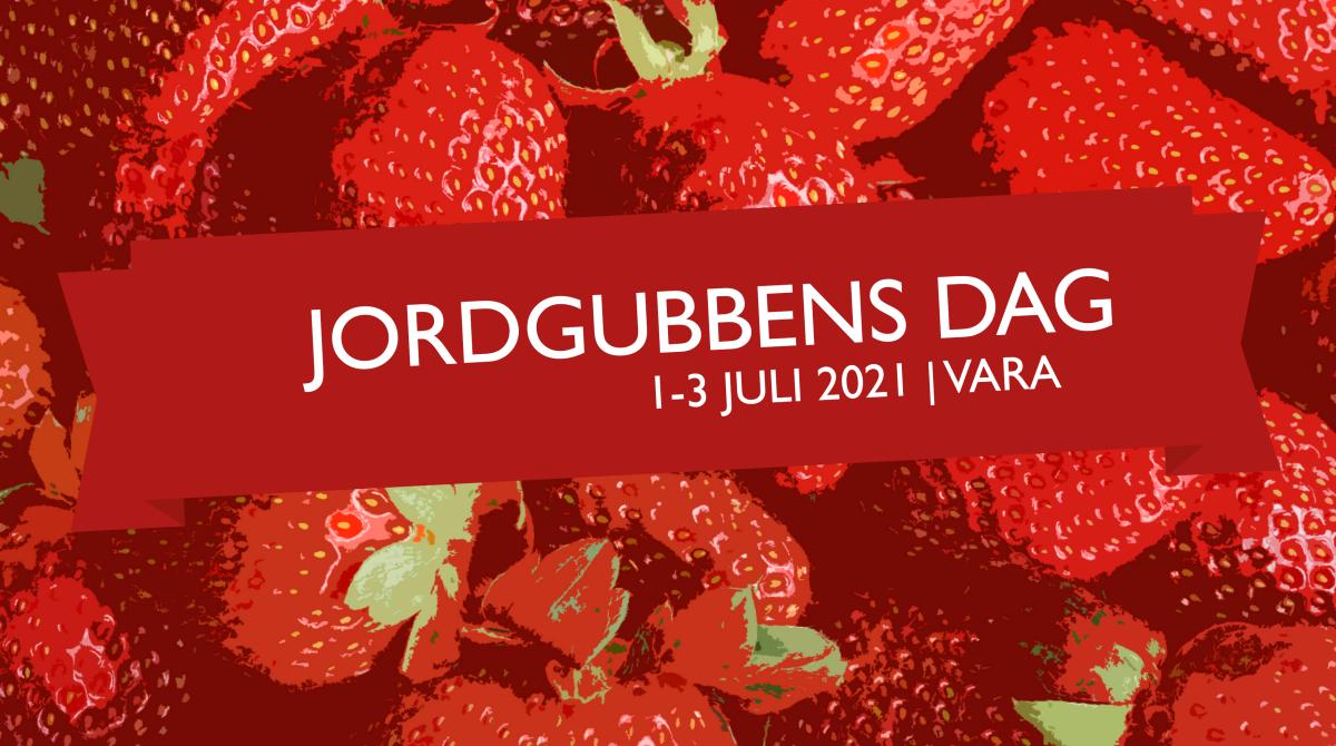Logotyp Jordgubbens dag på en bakgrund med illustrerade jordgubbar.