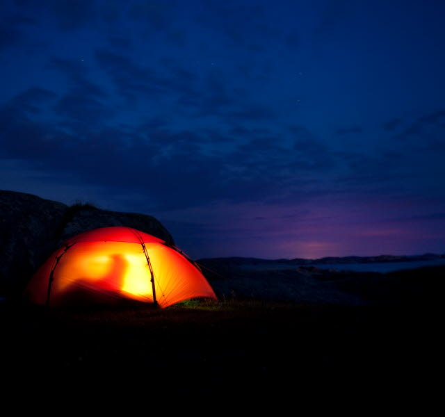 Tent with a light