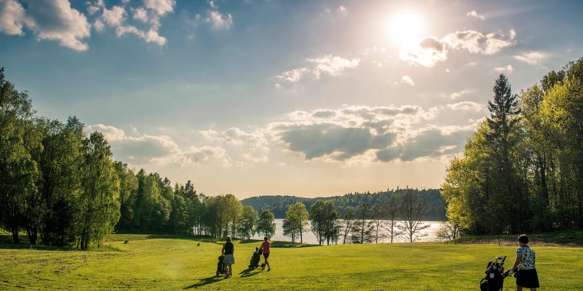 Två golfare är ute på en golfrunda en solig sommardag