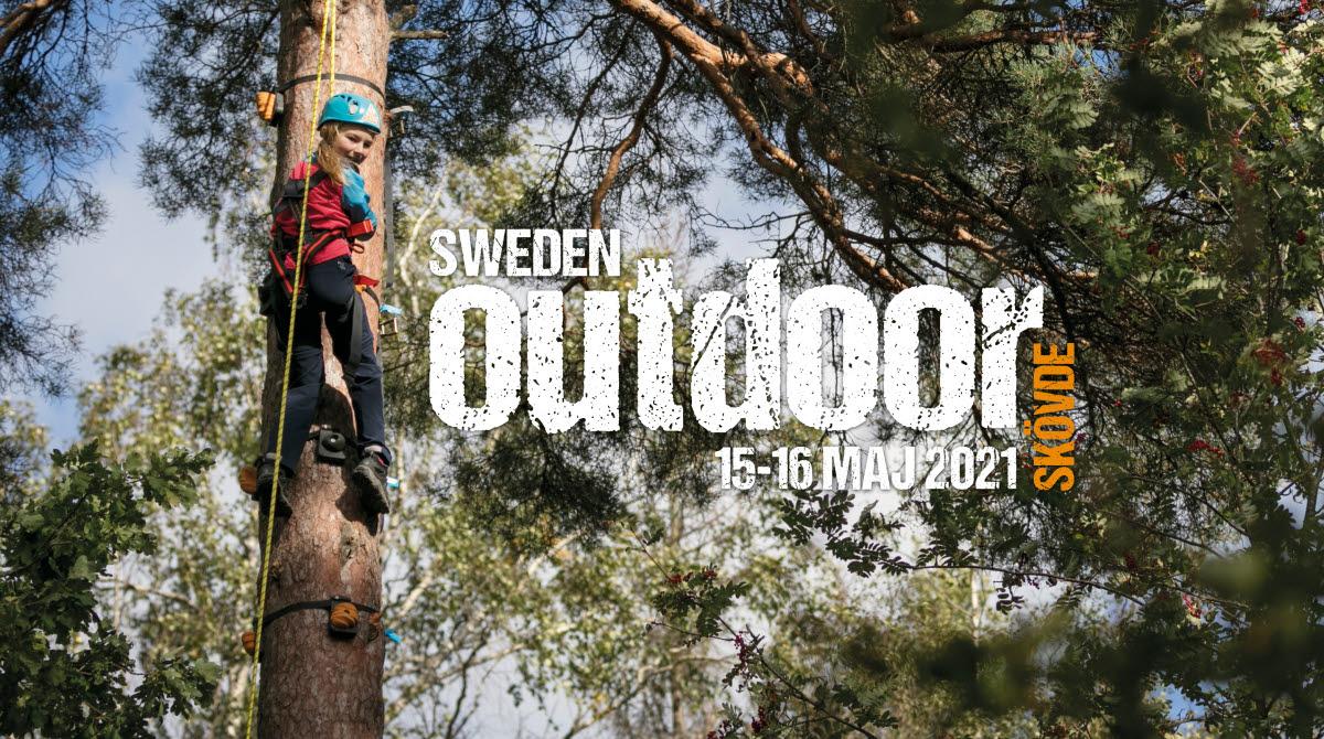 En flicka klättrar i ett högt träd.
