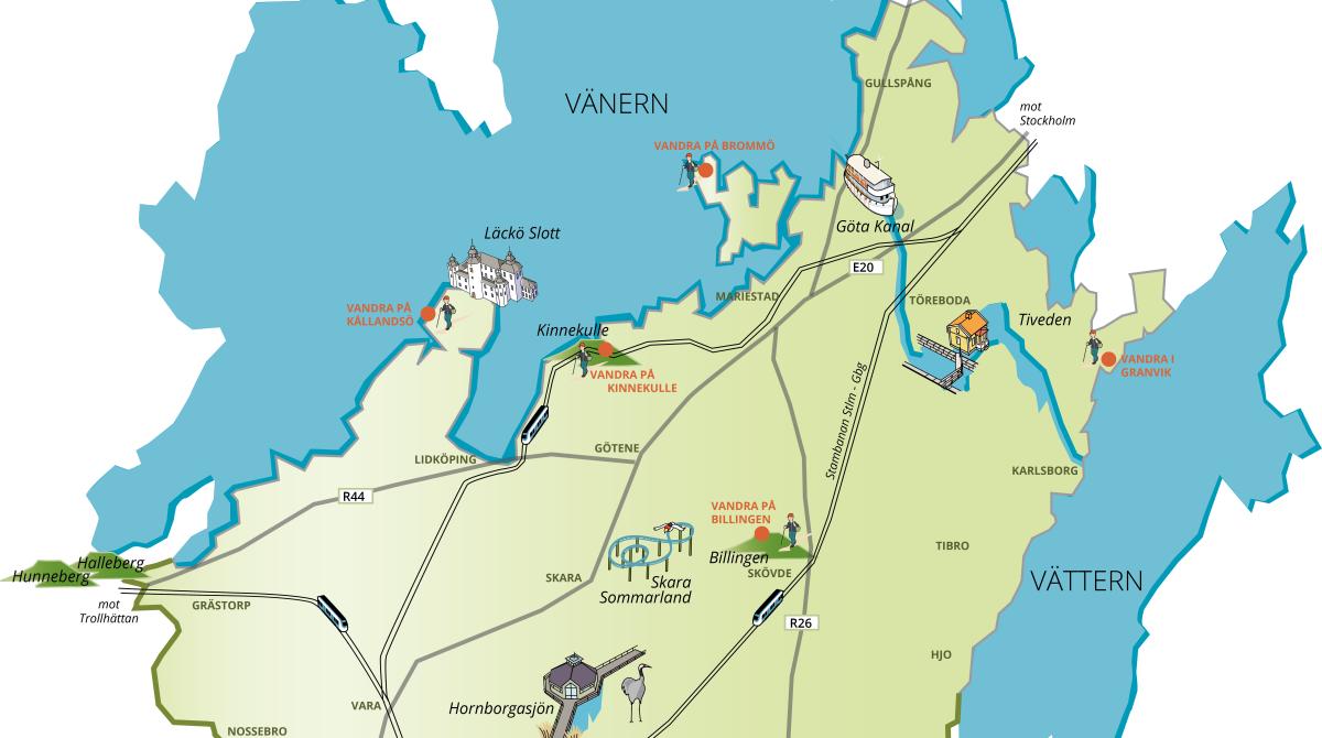Karta över Skaraborg som visar sex vandringsleder utmärkta på kartan.