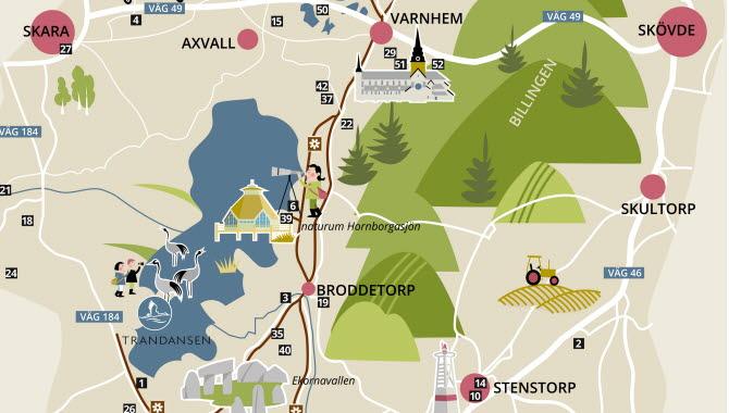 A part of a map - Visit Hornborgasjön.