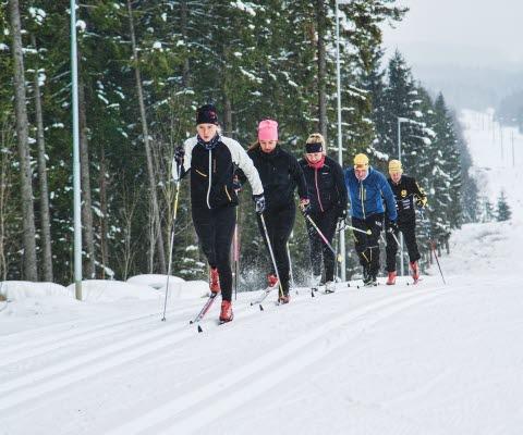 Människor åker skidor vid Lassalyckan i Ulricehamn