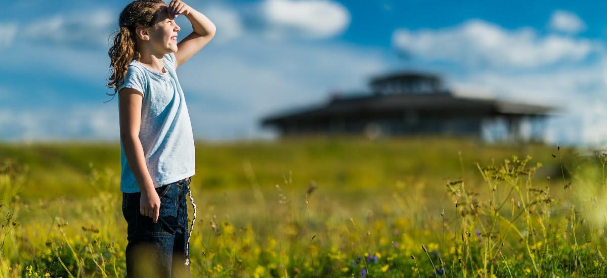 Flicka som står på en äng och kikar mot himlen. Utsiktstornet på Fågeludden är i bakgrunden.