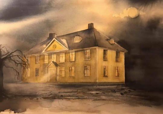 Bild på akvarellmålning föreställande Hensbacka Herrgård målad av Camilla Lod.