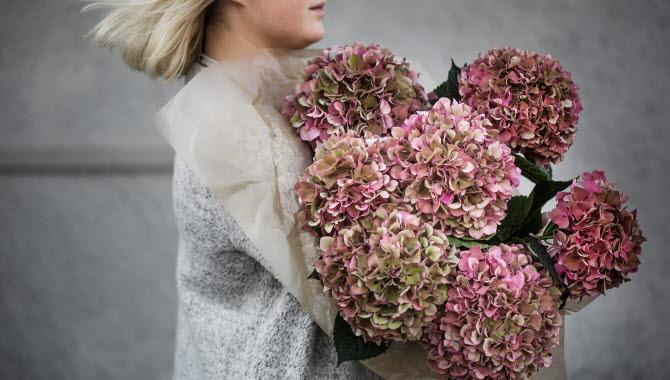 Tjej som håller flera rosa blomsterbuketter i famnen.