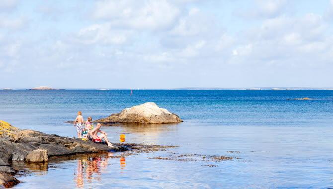 Det är en solig sommardag och en familj med barn fiskar krabbor ifrån en klippa vid Rörvik på Sydkoster.