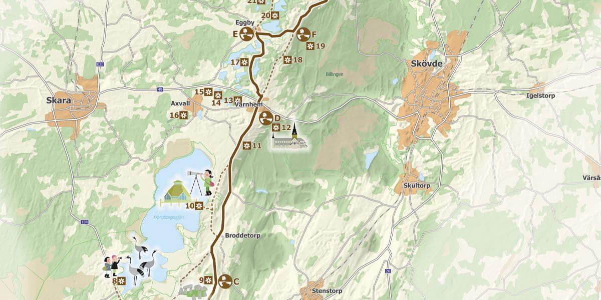 Illustrerad karta över Kulturvägen.